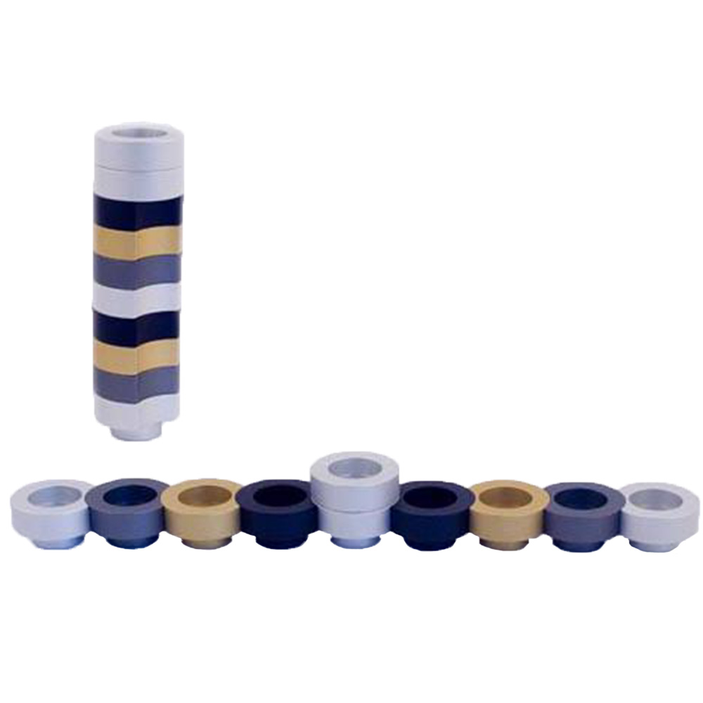 Stackable Round Menorah for Travel - Gold - Baltinester Jewelry