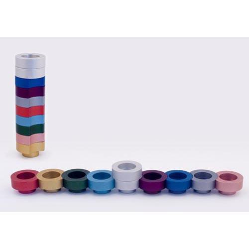 Stackable Round Menorah for Travel - Multi - Baltinester Jewelry