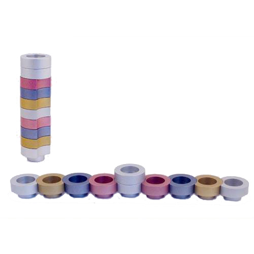 Stackable Round Menorah for Travel - Pink - Baltinester Jewelry