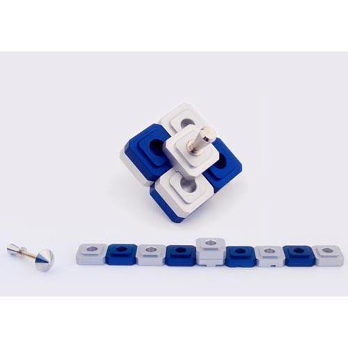 Dreidel Design Menorah for Travel - Blue - Baltinester Jewelry