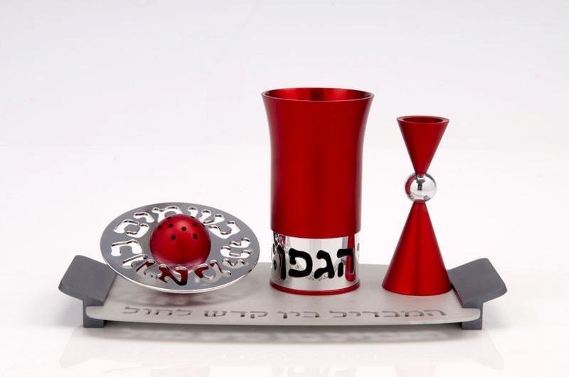 Contemporary Aluminium Havdalah Set - Red - Baltinester Jewelry