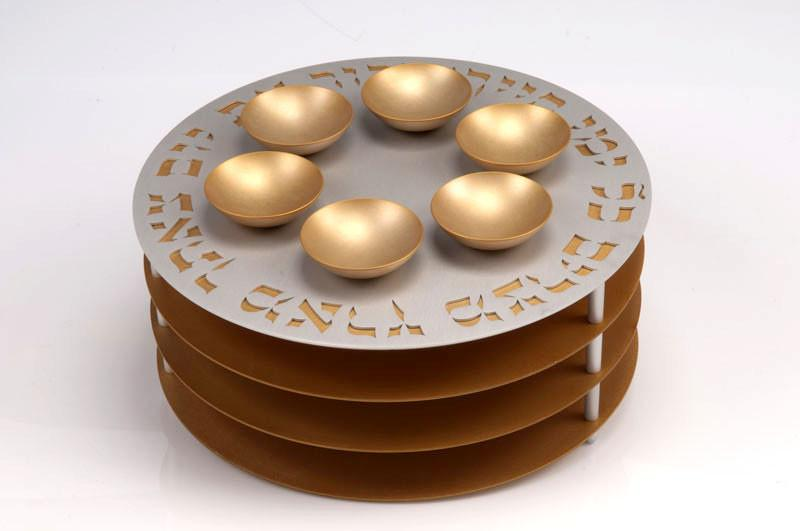 Seder Plate 3 Levels - Gold - Baltinester Jewelry