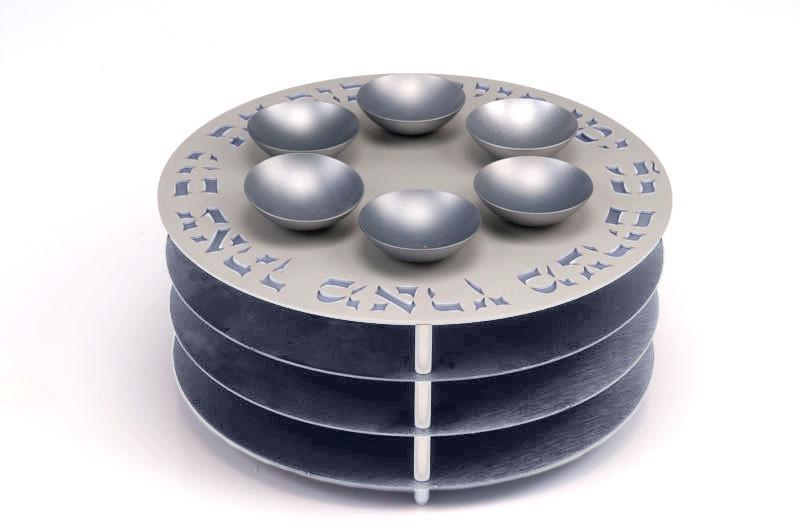 Seder Plate 3 Levels - Gray - Baltinester Jewelry