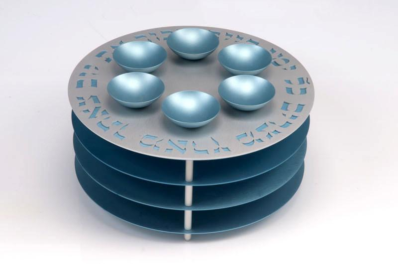 Seder Plate 3 Levels - Teal - Baltinester Jewelry