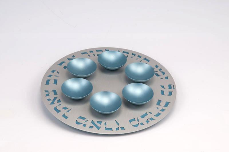 Seder Plate 1 Level - Teal - Baltinester Jewelry