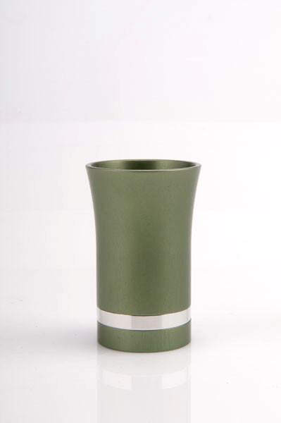 Modern-Style Small Kiddush Cup - Green - Baltinester Jewelry