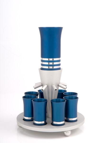 Kiddush Cup Wine Fountain Set for 8 - Blue - Baltinester Jewelry