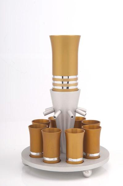 Kiddush Cup Wine Fountain Set for 8 - Gold - Baltinester Jewelry