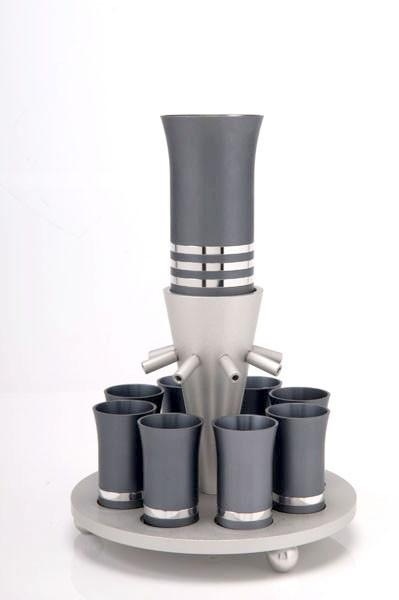 Kiddush Cup Wine Fountain Set for 8 - Gray - Baltinester Jewelry