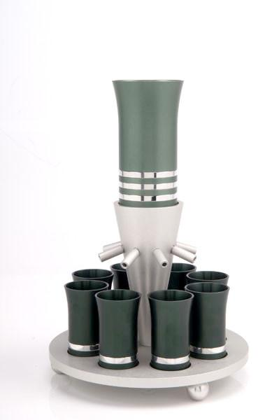 Kiddush Cup Wine Fountain Set for 8 - Green - Baltinester Jewelry