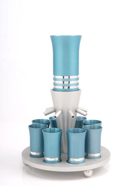 Kiddush Cup Wine Fountain Set for 8 - Teal - Baltinester Jewelry