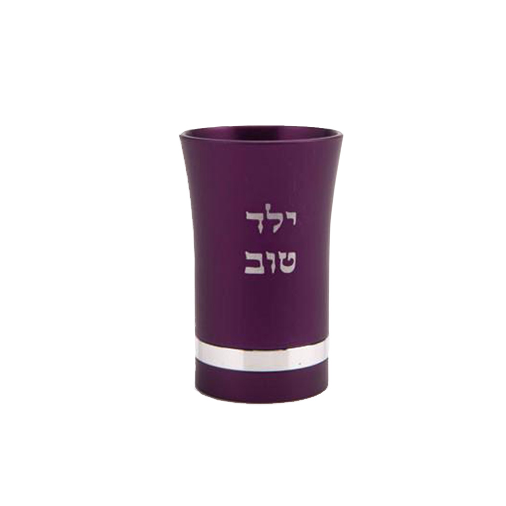 Yeled Tov Baby Kiddush Cup for Boys - Purple - Baltinester Jewelry