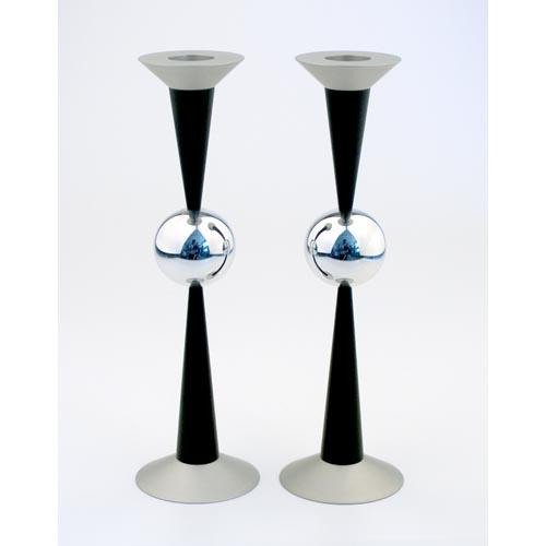 Silver Sphere Medium-Sized Candle Holders - Black - Baltinester Jewelry