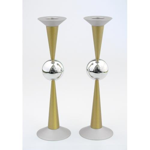 Silver Sphere Medium-Sized Candle Holders - Gold - Baltinester Jewelry