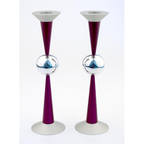 Silver Sphere Medium-Sized Candle Holders - Purple - Baltinester Jewelry
