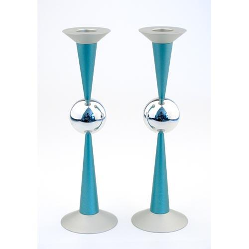 Silver Sphere Medium-Sized Candle Holders - Teal - Baltinester Jewelry