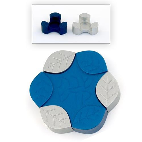 Travel-Size Small Leaves Candle Holders - Blue - Baltinester Jewelry