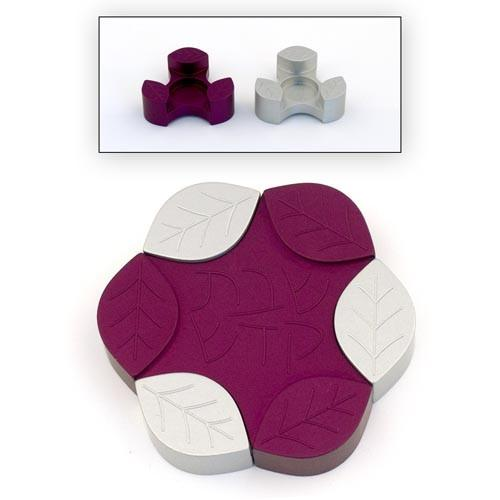 Travel-Size Small Leaves Candle Holders - Purple - Baltinester Jewelry