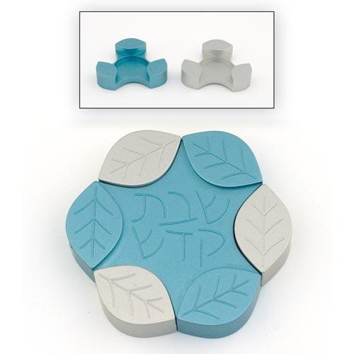 Travel-Size Small Leaves Candle Holders - Teal - Baltinester Jewelry
