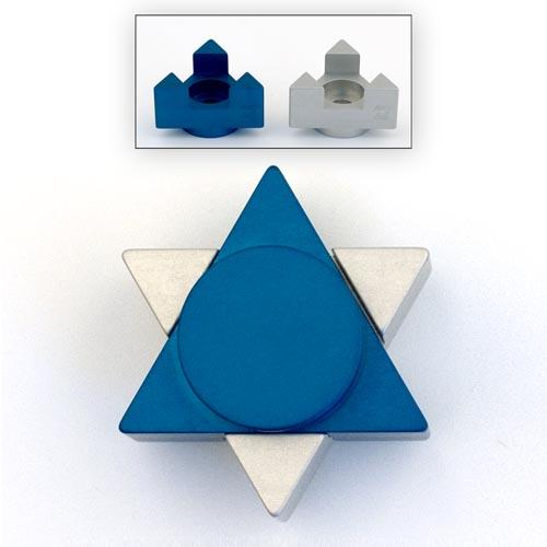 Magen David Travel Candle Holders - Blue - Baltinester Jewelry