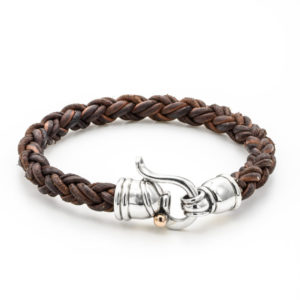 Brown Leather Bracelet Sterling Silver Clasp - Baltinester Jewelry