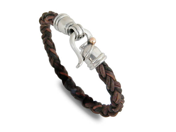 Brown Leather Bracelet Sterling Silver Clasp 2 - Baltinester Jewelry