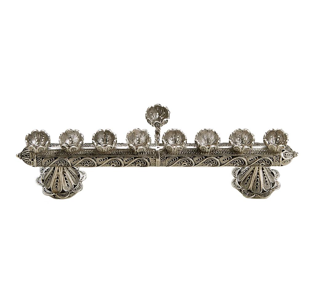 Delicate Silver Filigree Hanukkah Menorah - Baltinester Jewelry