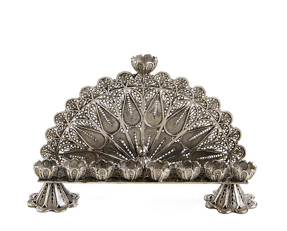 Half-Moon Sterling Silver Filigree Hanukkah Menorah - Baltinester Jewelry