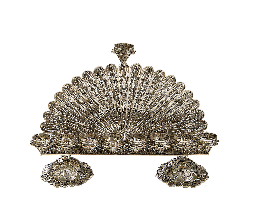Sterling Silver Filigree Semicircle Menorah - Baltinester Jewelry