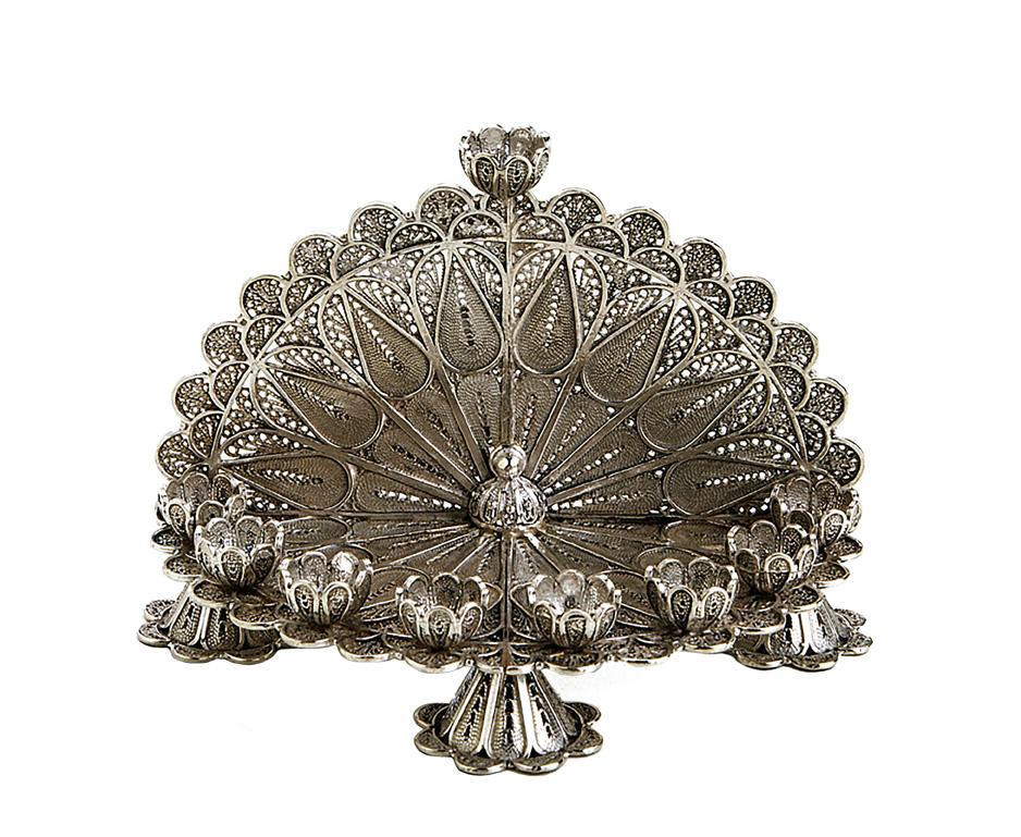 Exquisite Floral Filigree Menorah - Baltinester Jewelry
