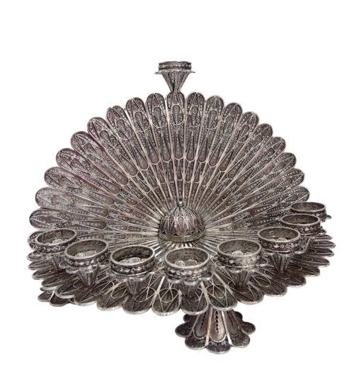 Round Filigree Sterling Silver Menorah - Baltinester Jewelry