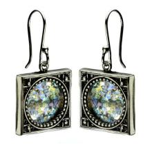 Sterling Silver Roman Glass Stargazer Earrings - Baltinester Jewelry