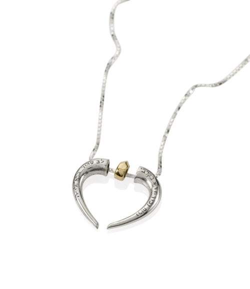 Unified Heart Silver and Gold Hebrew Pendant 2 - Baltinester Jewelry