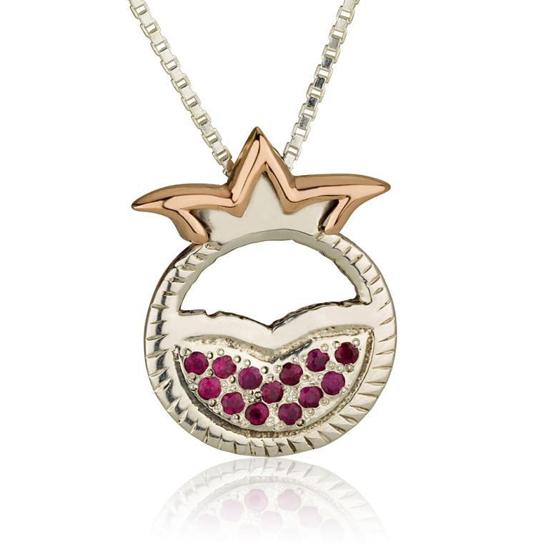 Pomegranate Mayan Silver Ruby Pendant - Baltinester Jewelry