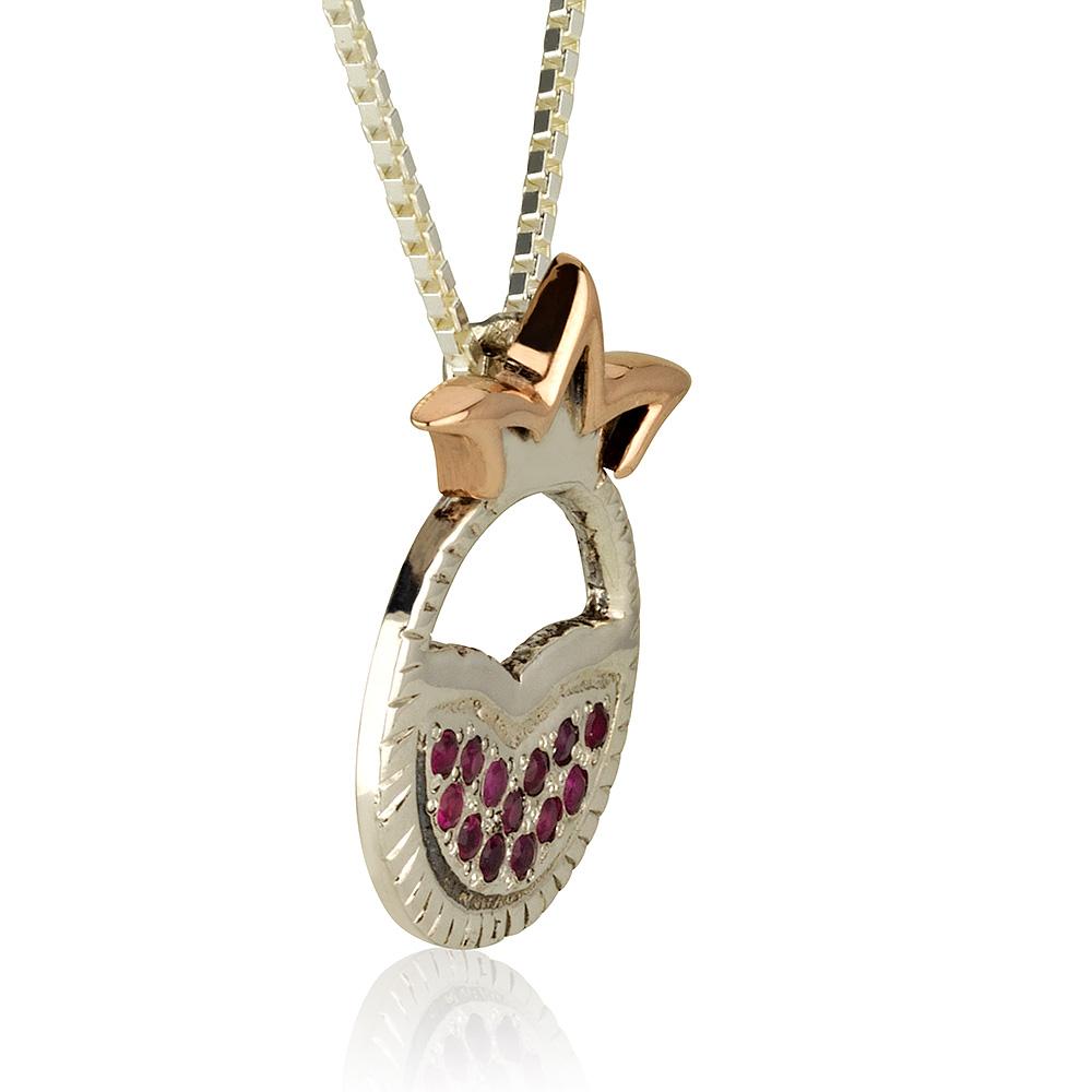 Pomegranate Mayan Silver Ruby Pendant 2 - Baltinester Jewelry