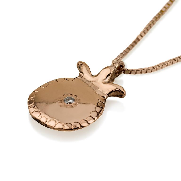 14k Rose Gold Diamond Pomegranate Pendant 2 - Baltinester Jewelry