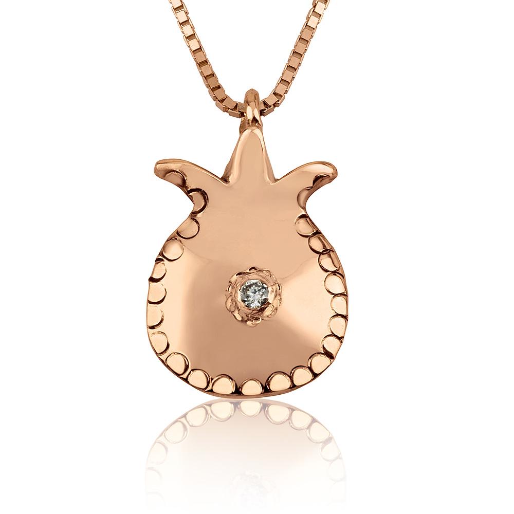 14k Rose Gold Diamond Pomegranate Pendant - Baltinester Jewelry