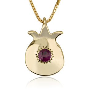Gold Ruby Pomegranate Pendant - Baltinester Jewelry