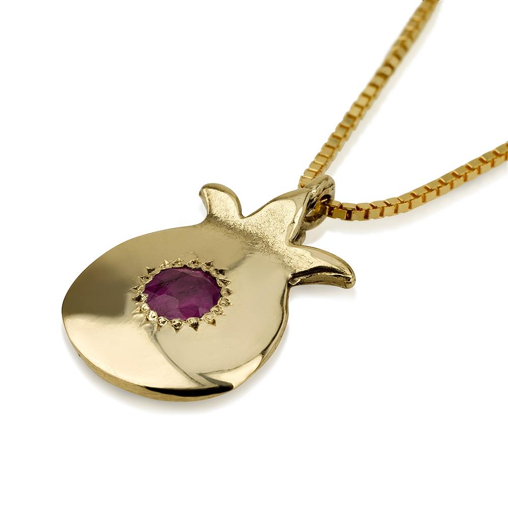 Gold Ruby Pomegranate Pendant 2 - Baltinester Jewelry
