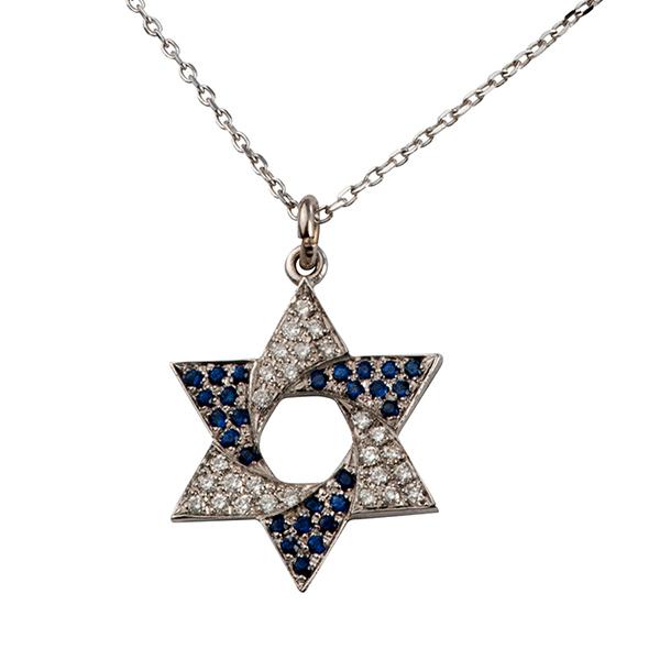 Flag of Israel Diamond & Sapphire Star of David Pendant - Baltinester Jewelry