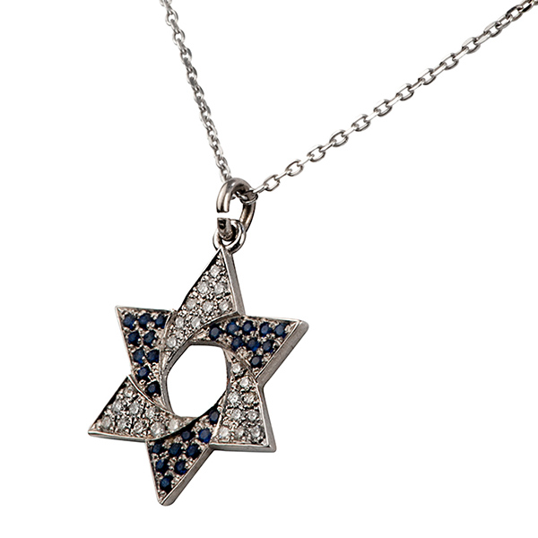 Flag of Israel Diamond & Sapphire Star of David Pendant 3 - Baltinester Jewelry