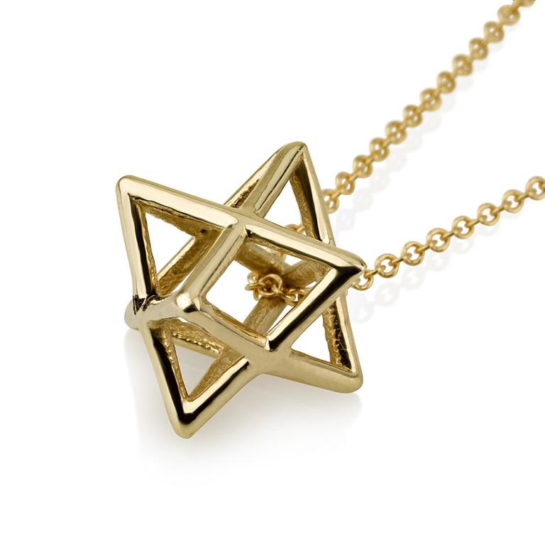 Gold Merkabah 3D Mystical Star of David Pendant - Baltinester Jewelry
