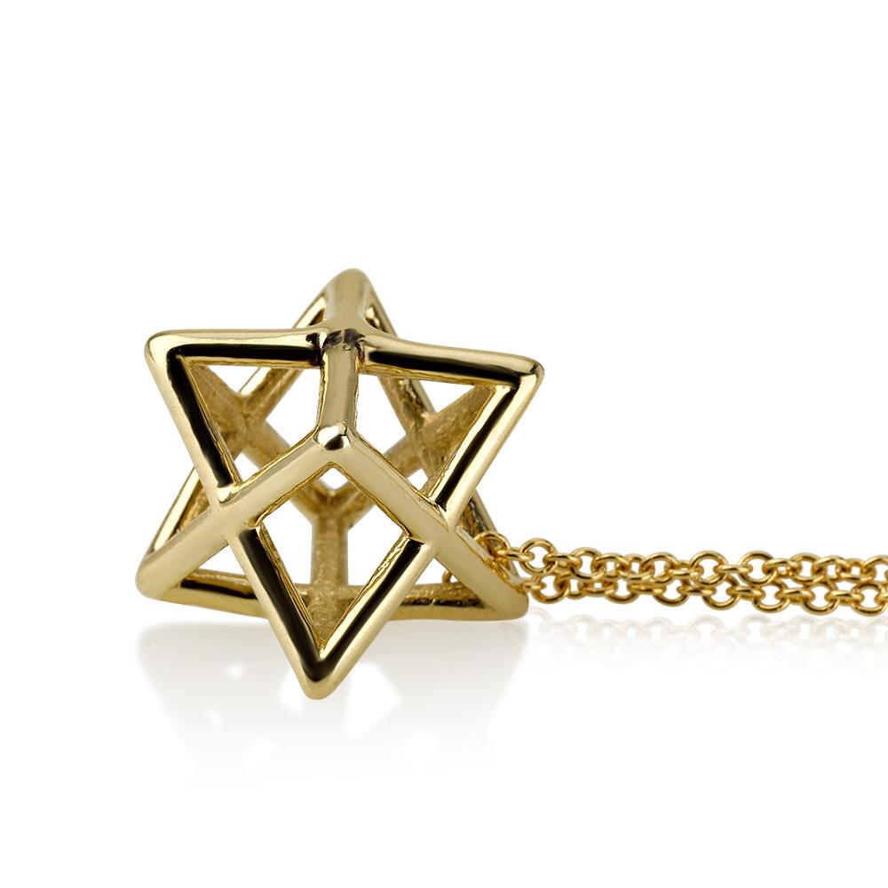 Gold Merkabah 3D Mystical Star of David Pendant 2 - Baltinester Jewelry