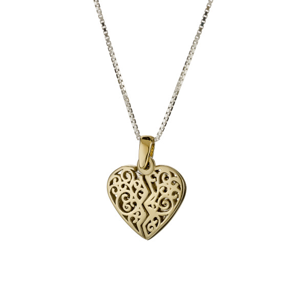 Split Heart Gold and Silver Hebrew Pendant - Baltinester Jewelry