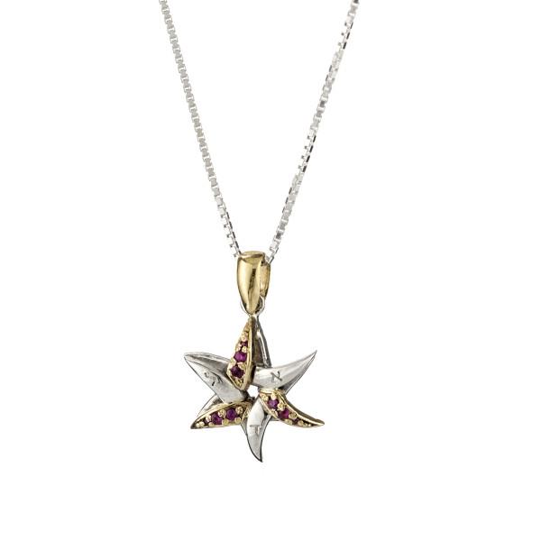 Swirled Star of David Ruby Kabbalah Pendant - Baltinester Jewelry