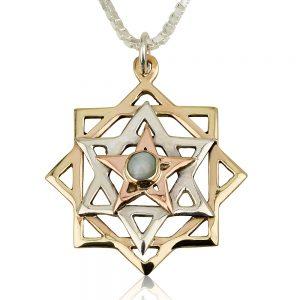 Kabbalah Pendant Tricolored Star Chrysoberyl - Baltinester Jewelry