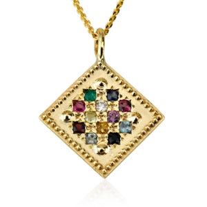 14k Gold Hoshen Pendant Diamond-Shaped - Baltinester Jewelry