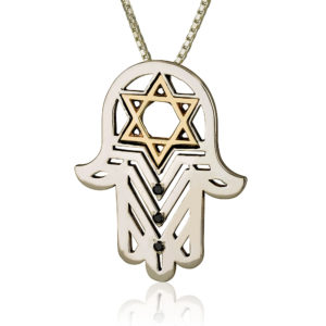 Star of David Hamsa Pendant Black Diamonds - Baltinester Jewelry
