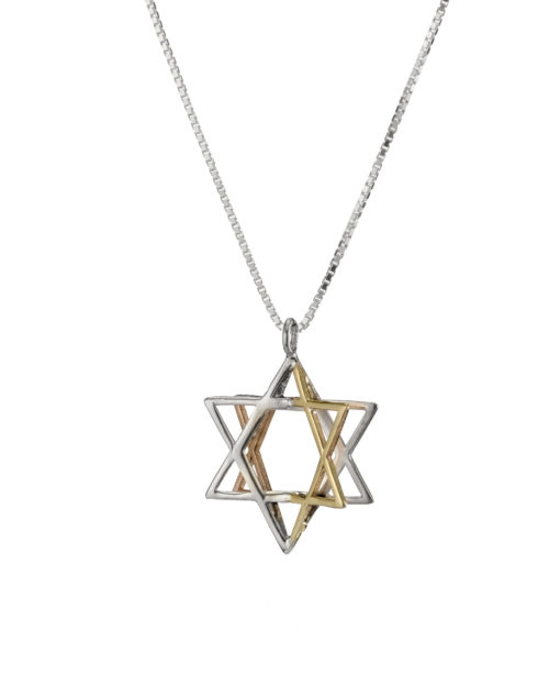 Silver & Two Tone Gold 3D Magen David Pendant 3 - Baltinester Jewelry
