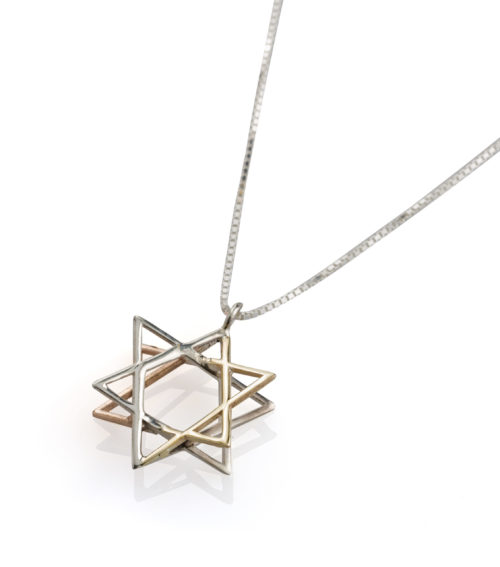 Silver & Two Tone Gold 3D Magen David Pendant 2 - Baltinester Jewelry